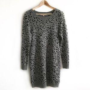 LOFT gray black animal print sweater dress small